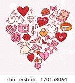 doodle valeines card | Shutterstock .eps vector #170158064