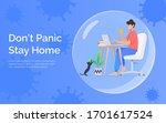 quarantine and self isolation... | Shutterstock .eps vector #1701617524
