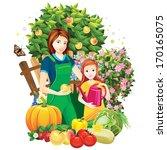 people in the garden   Shutterstock .eps vector #170165075