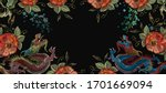 dragons and red roses flowers....   Shutterstock .eps vector #1701669094