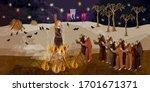 medieval scene. inquisition.... | Shutterstock .eps vector #1701671371