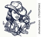 cowboy girl pin up style.... | Shutterstock .eps vector #1701693661