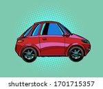 Small Red City Car. Pop Art...