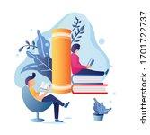 man and women reading book...   Shutterstock .eps vector #1701722737