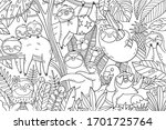 big coloring page with cute... | Shutterstock .eps vector #1701725764