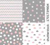 set of seamless patterns in... | Shutterstock .eps vector #1701739804