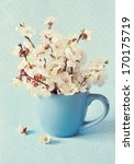 Beautiful spring flowers in a blue mug. - stock photo