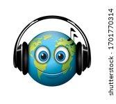 earth emoji   headphones... | Shutterstock .eps vector #1701770314
