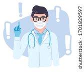 doctor pointing finger up...   Shutterstock .eps vector #1701829597