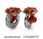 Brake Disc and Red Calliper from a Racing Motorbike isolated on white - stock photo