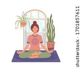 young woman meditating and...   Shutterstock .eps vector #1701857611