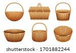 wicker basket vector realistic... | Shutterstock .eps vector #1701882244