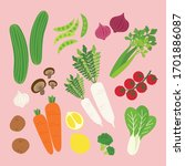 set flatlay vegetable vector... | Shutterstock .eps vector #1701886087