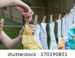 Cloth Diapers On A Clothesline  ...