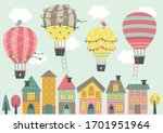 four hot air balloon  fly over...   Shutterstock .eps vector #1701951964