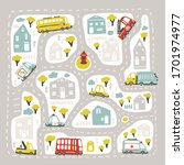 baby city map with roads and... | Shutterstock .eps vector #1701974977