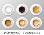 coffee cup assortment top view... | Shutterstock .eps vector #1702018111