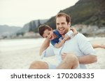 father and son playing at beach ...   Shutterstock . vector #170208335