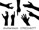 Black Set Silhouette Of Hands...
