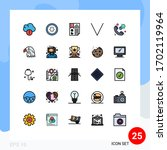 pack of 25 modern filled line... | Shutterstock .eps vector #1702119964