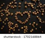 Coffee Beans In Heart Shape On...