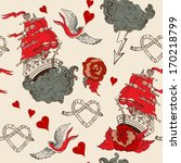 seamless vintage pattern with... | Shutterstock .eps vector #170218799