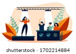 woman signing at talent show... | Shutterstock .eps vector #1702214884