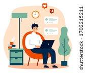 happy guy using computer for... | Shutterstock .eps vector #1702215211