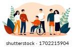 volunteers helping disabled... | Shutterstock .eps vector #1702215904