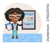 cartoon technologist checks the ...   Shutterstock .eps vector #1702220761