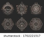 vector set of sacred symbols... | Shutterstock .eps vector #1702221517