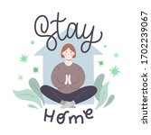 young woman meditating at home  ... | Shutterstock .eps vector #1702239067