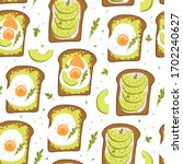 avocado toast. cute seamless... | Shutterstock .eps vector #1702240627