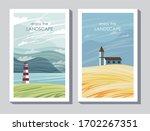 2 postcards enjoy the landscape    Shutterstock .eps vector #1702267351