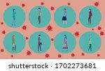 people keep distance in public... | Shutterstock .eps vector #1702273681