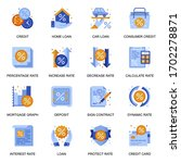 credit and loan icons set in...