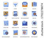 data analysis icons set in flat ...