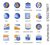 stock trading icons set in flat ...