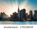 manhattan skyline at sunset.... | Shutterstock . vector #170228549