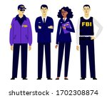 set of federal agents... | Shutterstock .eps vector #1702308874
