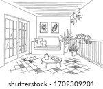 balcony graphic black white... | Shutterstock .eps vector #1702309201