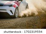 Rally Racing Car On Dirt Road.