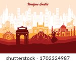 unique india with monuments... | Shutterstock .eps vector #1702324987