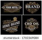 set of 4 vintage logos with... | Shutterstock .eps vector #1702369084
