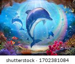 pod of lovable dolphins chasing ... | Shutterstock . vector #1702381084