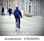 Commuter on bike - stock photo