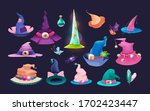 set of wizard hats  old hat... | Shutterstock .eps vector #1702423447