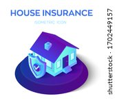 3d isometric insured house with ... | Shutterstock .eps vector #1702449157