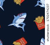 seamless pattern of a shark and ... | Shutterstock .eps vector #1702474237