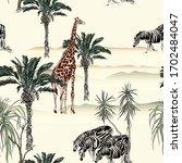 giraffe  zebras wildlife in... | Shutterstock .eps vector #1702484047